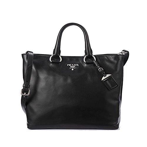 89c45e3fe53a Prada Vit Vitello Daino Nero Black Leather Shopping Tote Handbag with  Shoulder Strap BN2865 - SHOP HANDBAG BOUTIQUE