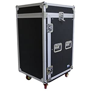 Seismic Audio - SAMRC-16U - 16 Space Rack Case with Slant Mixer Top and Casters - PA/DJ Pro Audio Road Case