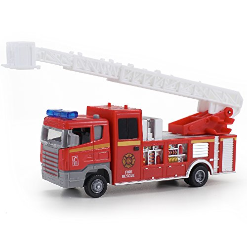 Diecast Fire Truck Pullback Friction Toy Emergency Vehicle w/ Lights and Sounds
