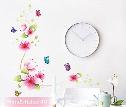 mural-sticker4u-floraison-fleurs-papillons-fleur-plantes-fleurs-romantique-sakura-rose-stickers-mura