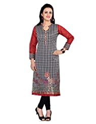 Ekvi Red CHANDERI SILK Embroidered Kurti For Ladies