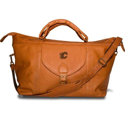 NHL Calgary Flames Pangea Tan Leather Top Zip Travel Bag