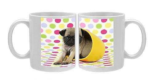 Photo Mug Of Jd-21150 Dog. Pug Puppy ( 6 Wks Old ) In A Yellow Pot front-898646