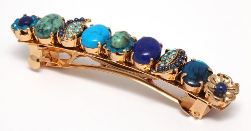 Israeli Amaro Jewelry Studio 'Inspiration' Collection Hair Clip Crafted with Sodalite, Amazonite, Malachite, Turquoise, Lazurite, Abalone and Swarovski Crystals; 24K Yellow Gold Plated