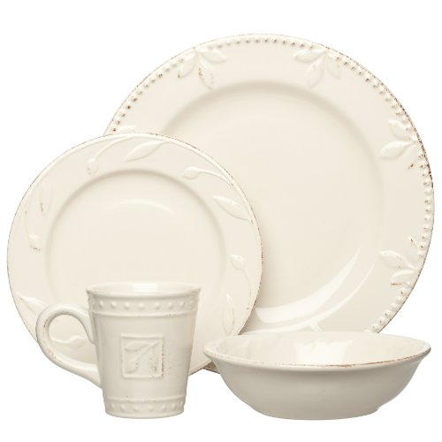 Signature Housewares Sorrento Collection Stoneware 4-Piece Dinnerware Set, Ivory Antiqued Finish (Cream Dinnerware Set compare prices)
