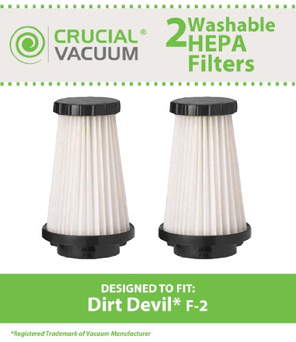 2 Pack Dirt Devil F2 Replacement Hepa Filter; Compare To Dirt Devil Part #3Sfa11500X, 3-F5A115-00X