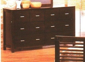 Contemporary Style Cherry Brown Finish Wood Bedroom Dresser w/8 Drawers