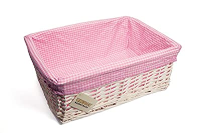 WoodLuv Large Wicker Storage Basket with Pink Gingham Lining, White