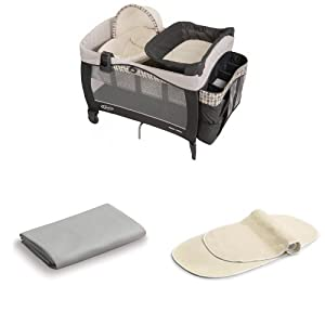 Graco Newborn Napper Elite, Vance + Matching Sheet, Gray + 2pk Changing Table Pad Covers, Cream