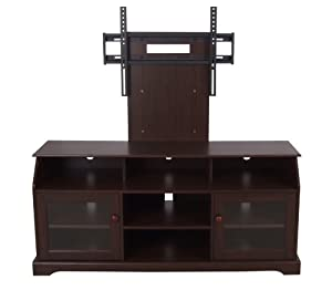Home Source Industries TV11303 Hardwood TV Stand with Mount and Shelving/Cabinets for Components, Tobacco Finish