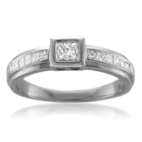 14K White Gold Princess-Cut Diamond Bezel-Set Engagement Ring (1/2 Cttw, G-H, I1)