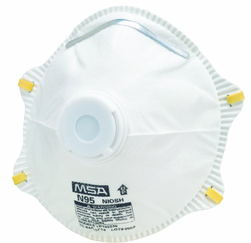 MSA Safety Works 10103821 Respirator N-95 Harmful Dust Disposable with Exhalation Valve, 1 Pack