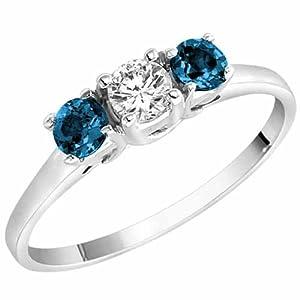 3 Diamant Bleu en Pierre et Diamant Blanc Accented Bague de Fiançailles en Platine (1/2 cttw) - La Taille 52