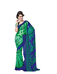ANSS Elegant Designer Faux Georgette Saree With Floral Print - Green&blue