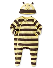 Pure Cotton Striped Sleepsuit with Bee Hat