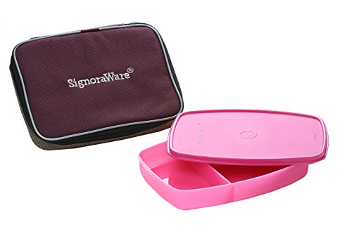 Signoraware Slim Lunch Box with Bag, 610ml, Pink