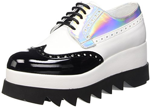 Cult Alice Scarpe derby stringate, Donna, Multicolore (White/Silver), 38