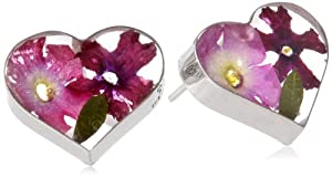 Sterling Silver Pressed Flower Purple Heart Post Stud Earrings from Athra NJ, Inc.