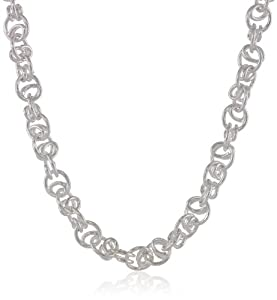 Sterling Silver Fancy Interlocking Link Chain Necklace, 24""