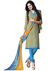 Yellow & Sky Blue colour embroidered crepe fabric semi stich churidar dress material