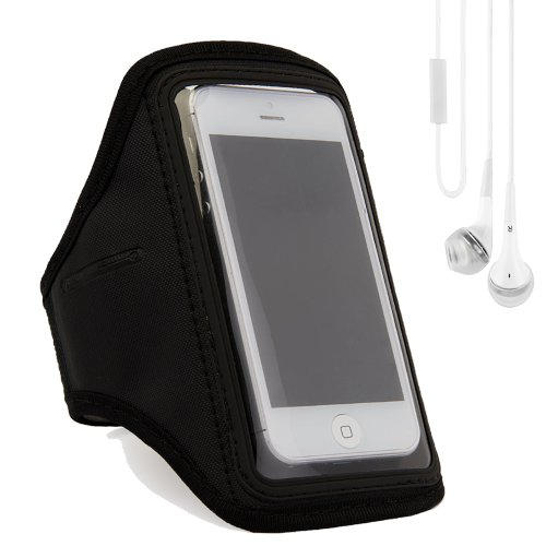 Running Sports Armband Case Cover For Apple Iphone 5S / 5 / 5C / 4S / Ipod Touch 5 (Black) + White Vangoddy Earphones With Mic