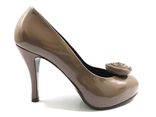 scarpe donna GUIDO SGARIGLIA 38,5 EU decolte beige scuro vernice AY120