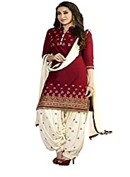 Z Hot Fashion Women's Cotton UnStitched Suit (RHKP1001B_Red_Free Size)