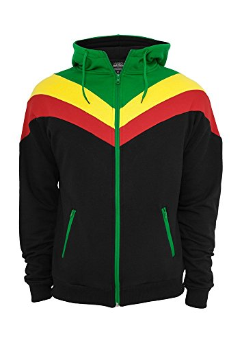 Urban Classics TB289 Arrow Sweat Zip Hoody Felpa Cappuccio Regular Fit (Black/Rasta, M)