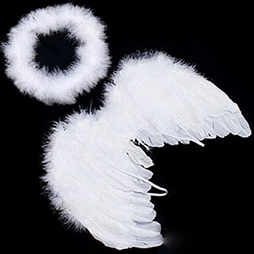 Children's White Angel Fairy Feather Wing Lovely Infant Baby Costume Photo Prop