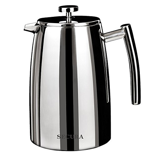 Secura 1000ML French Press Coffee Maker, 34-Ounce, Stainless Steel 18/10 SFP-34DSC, Extra Stainless Steel Screen