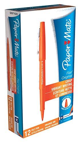 papermate-flair-original-felt-tip-pen-medium-orange-pack-of-12