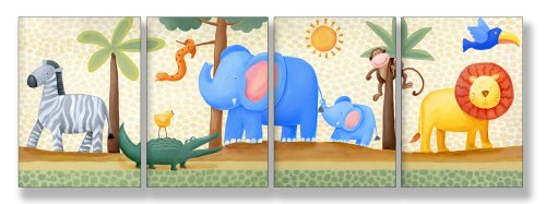 The Kids Room by Stupell Zebra, Crocodile, Elephant, Lion in the Jungle 4-Pc. Rectangle Wall Plaque Set
