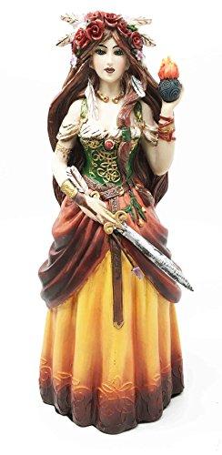 Celtic Irish Goddess Brigid Threefold Deity of Heling Poetry Smithcraft Figurine Holding Eternal Flame