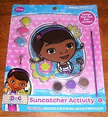 Disney Junior Doc Mcstuffins Suncatcher Activity with paint and brush - 1