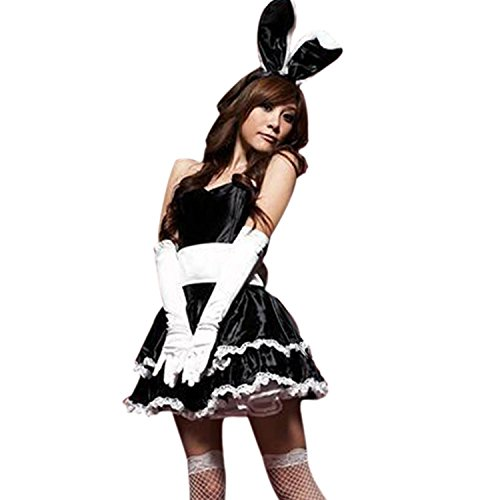 LoveSex Lovely Womens Bunny Costumes Christmas Cosplay Party Santa Claus Dress Black