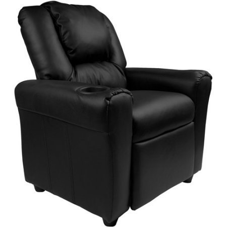 Flash Furniture DGULTKIDBRN Cushioned Seat Kids' Vinyl Recliner with Cupholder and Headrest, Black