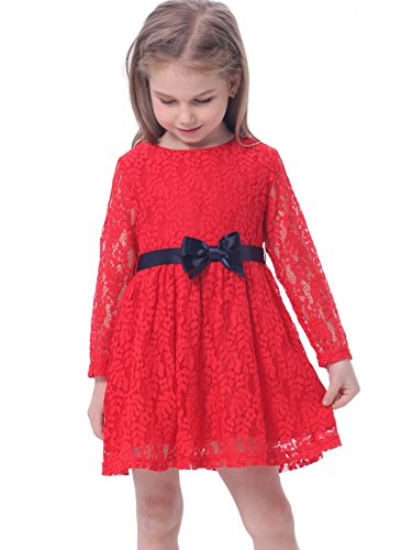 Bonny Billy Girls Long Sleeve Midi Lace Party Kids Dress with Bow Sash 5-6 Years Red