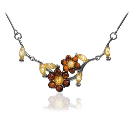 Sterling Silver Multi-color Amber Flower Necklace