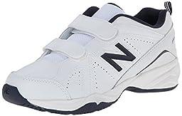 New Balance KV624 Youth Hook and Loop Training Shoe (Little Kid/Big Kid),White/Navy,1 M US Little Kid