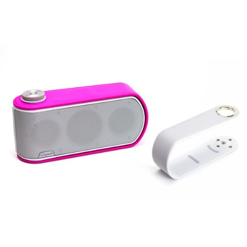 Klipsch Gig Portable Wireless Music System With Aptx Bluetooth And Additional Color Band (White Speaker With White And Pink Color Bands)