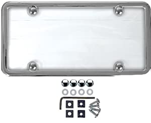 Custom Accessories 90075 Clear Cover Chrome Metal License Plate Frame with Anti-Theft Fastener by Custom Accessories