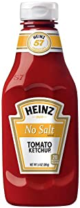 Heinz No Salt Tomato Ketchup, 14 Ounce Bottles (Pack of 6)