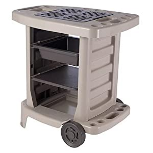 Suncast Portable Outdoor Gardening Center with Interchangeable Shelves, Tool Storage And Utility Bin, Taupe #GC1500B