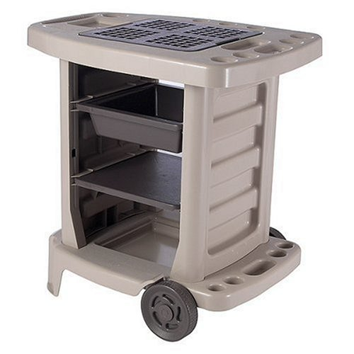 Suncast GC1500B Portable Outdoor Gardening Center with Interchangeable Shelves, Tool Storage And Utility Bin, Taupe