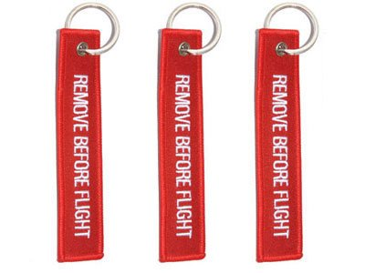 Remove Before Flight - 3 Pack - Embroidered Aviation Key Chain