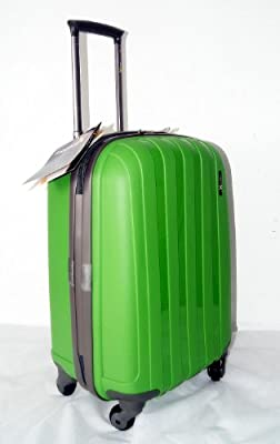 "Luggage X - 56cm (22"") Hard Sided Green Polypropylene Lightweight Trolley Suitcase - NEXT DAY DELIVERY*"