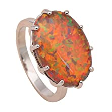 buy Dancing Zone Friend Gift Orange Fire Opal 925 Silver Rings Oval Design Delicate Fashion Jewelry For Women Ring Usa Size #6#7#8#9 Or610A