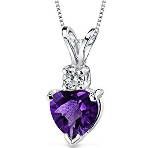 Revoni 14ct White Gold Heart Shape 0.75 Carats Amethyst Diamond Pendant Necklace