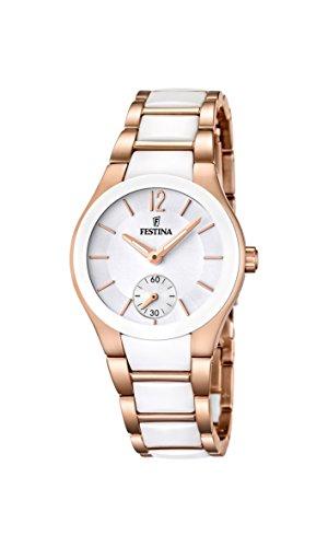 Festina F16589/1 - Reloj analógico de cuarzo para mujer con correa de acero inoxidable, color blanco