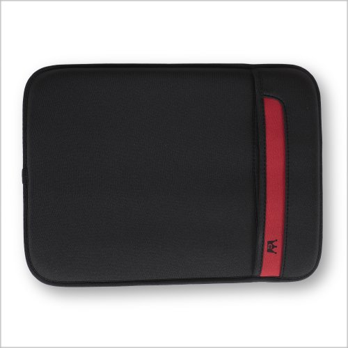 Neoprene Netbook Flip Top Skin Fit Sleeve (Black/Red) for ASUS U20A-A1 Thin and Light 12.1-Inch Laptop